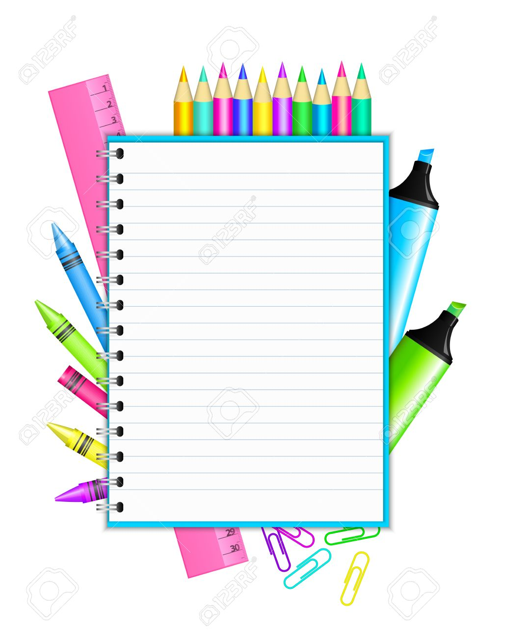 Back to school   - vector frame with colorful stationery Stock Vector - 15211054