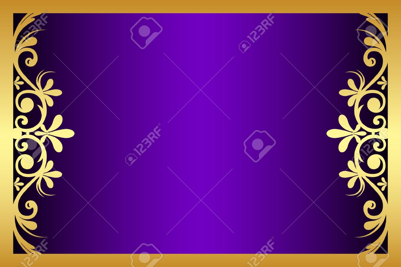 floral purple and gold frame Stock Vector - 15767042