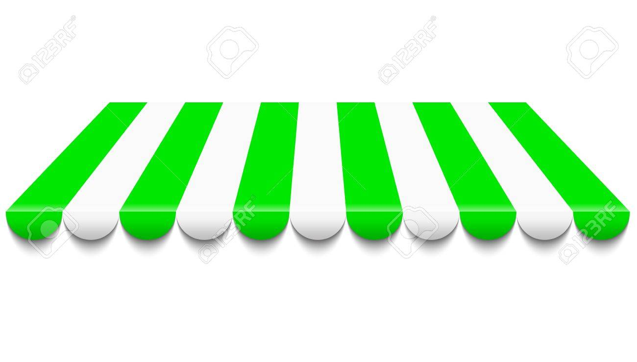 Illustration Of Green And White Awning Royalty Free Cliparts