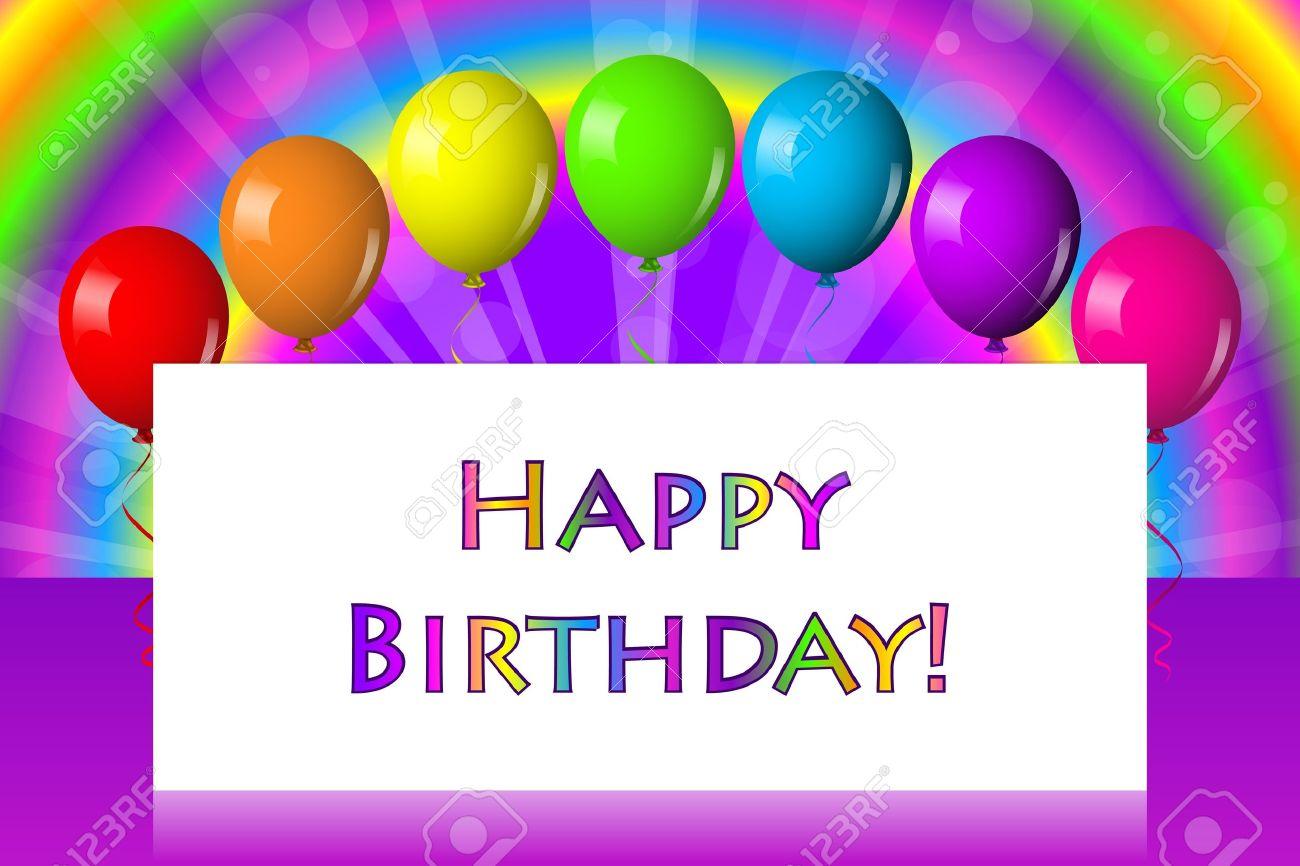 Herzlichen Glückwunsch Zum Geburtstag Rahmen Mit Ballons Lizenzfrei ...