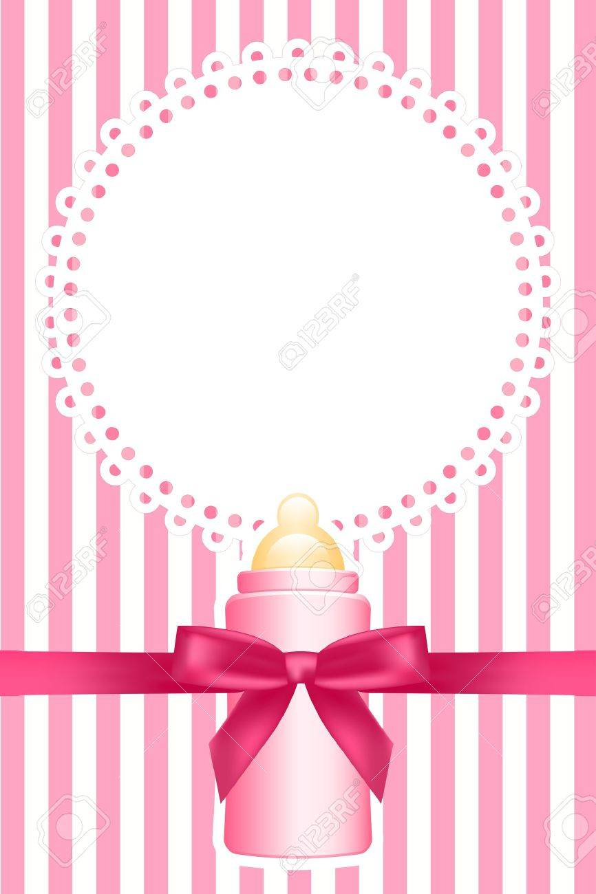 pink background with baby bottle - 16330932