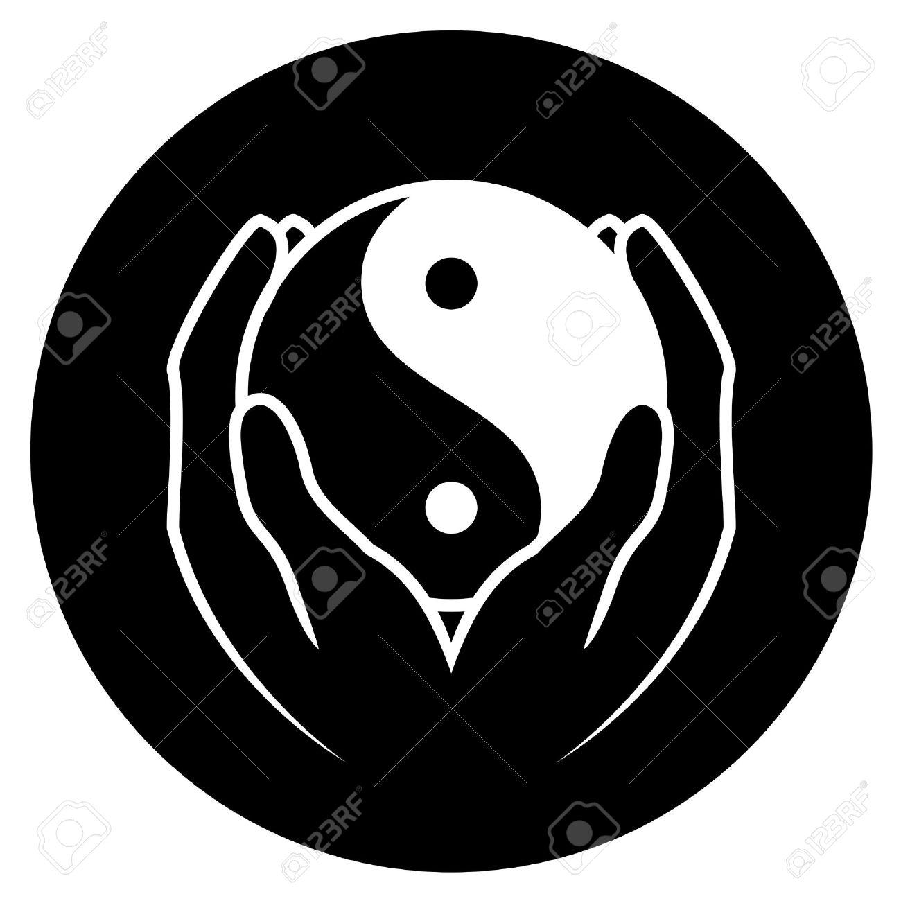 Vector illustration of hands holding yin yang symbol - 16331023