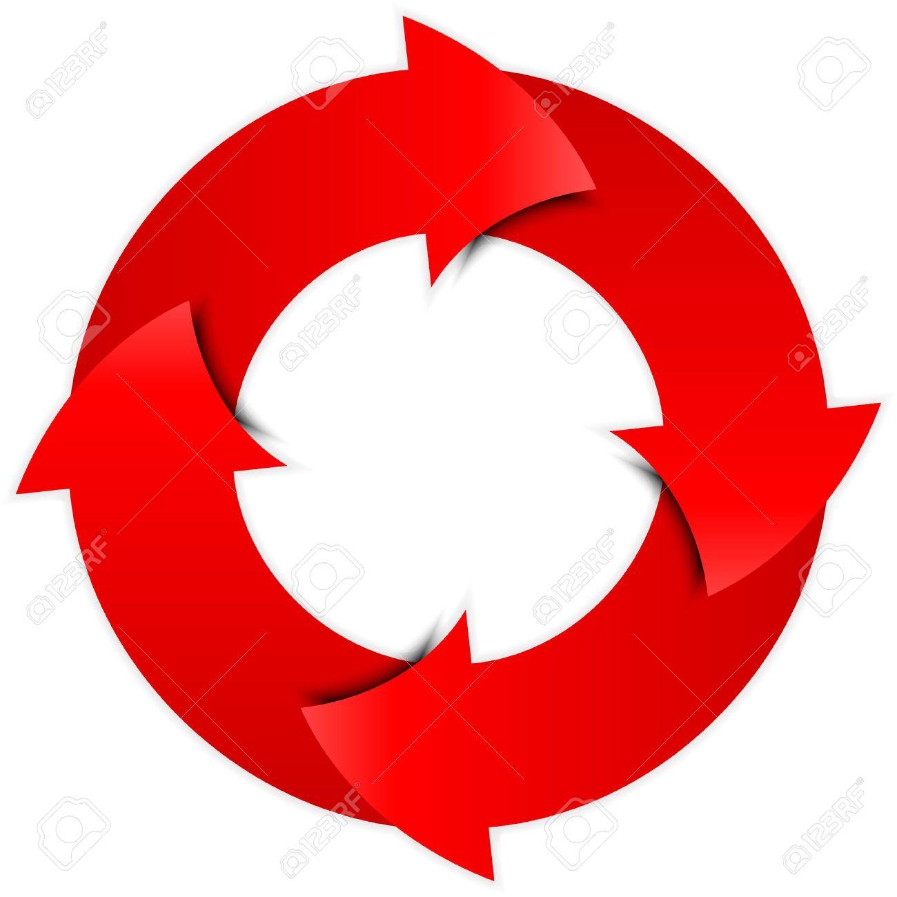 Vector red arrows circle Stock Vector - 17340610