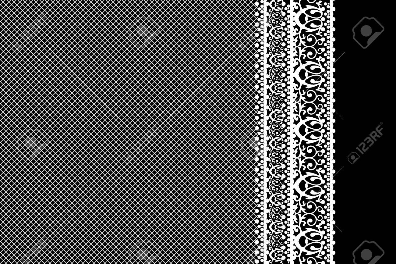 Vector white lace on black background Stock Vector - 17414445