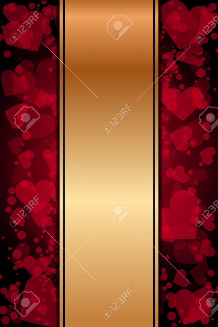 Vector red and gold background with hearts Stock Vector - 17688945