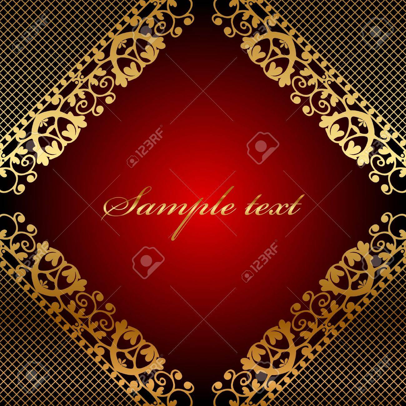 red frame with gold lace Stock Vector - 17968210
