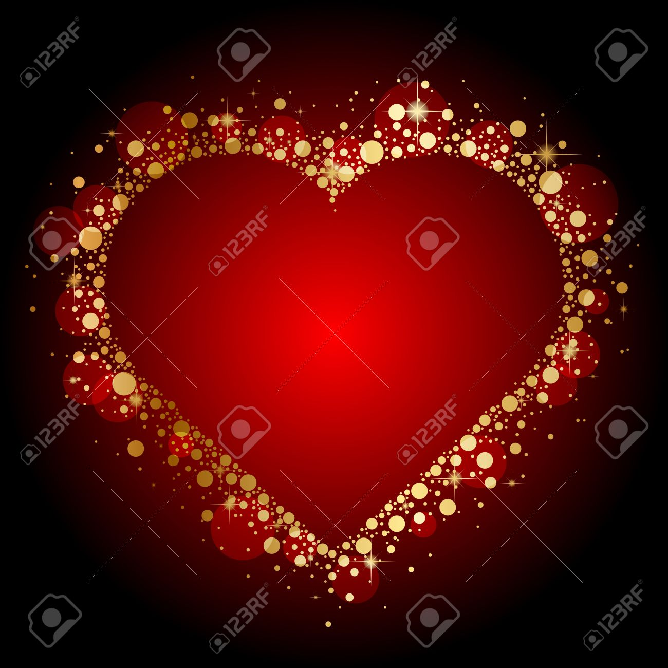 gold shiny heart on red background Stock Vector - 17968378