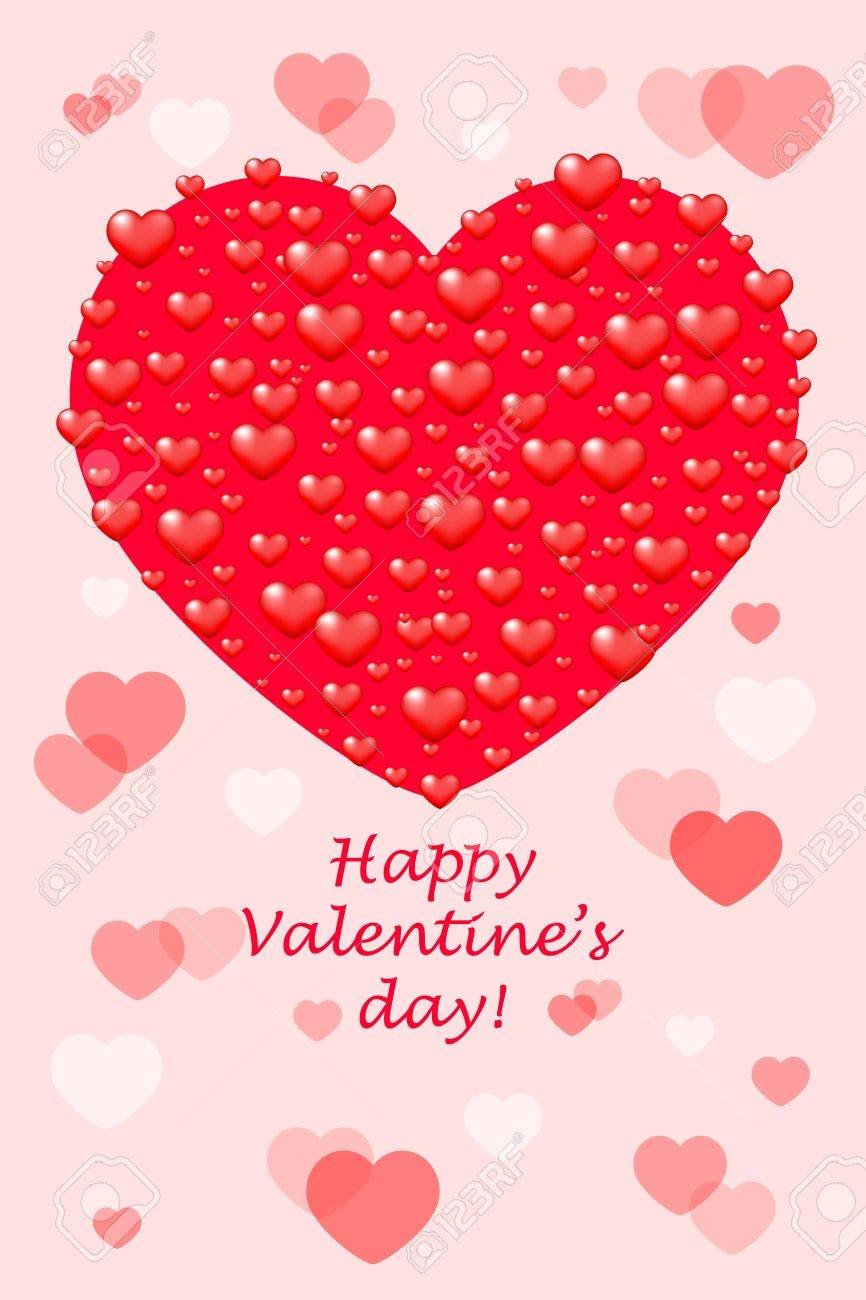 Happy Valentines Day Card With Hearts Royalty Free Cliparts – Happy Valentines Day Cards