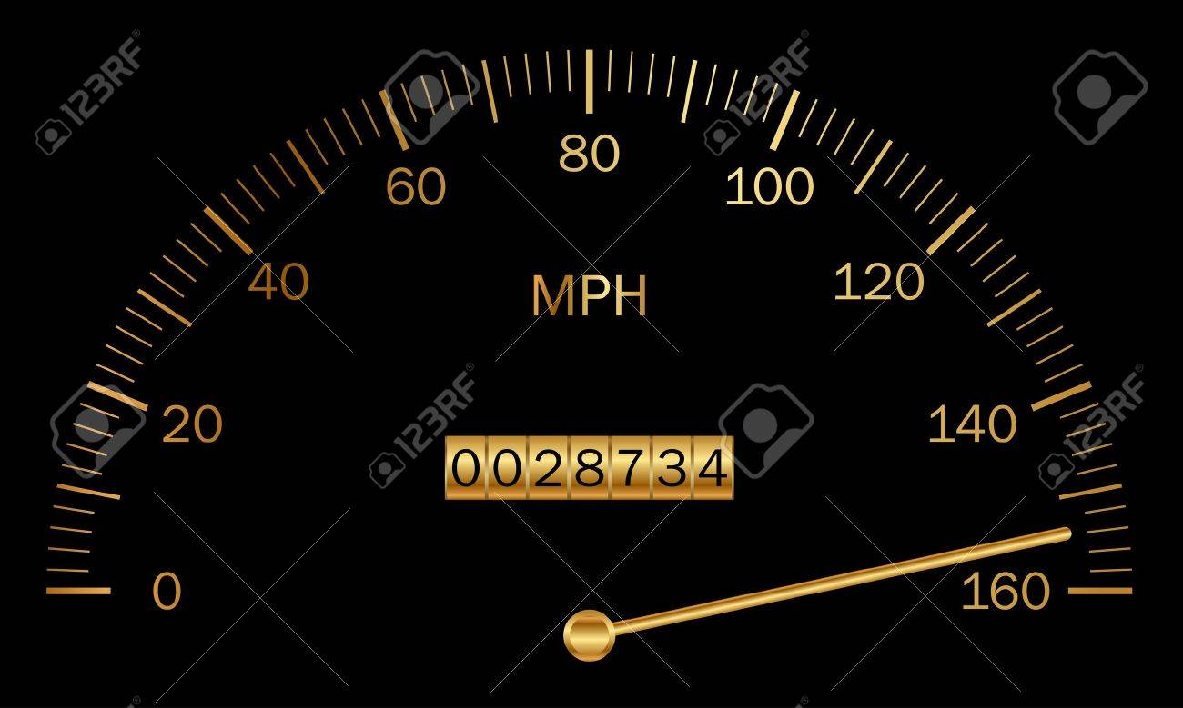 Vector illustration of black and gold speedometer Stock Vector - 18178006