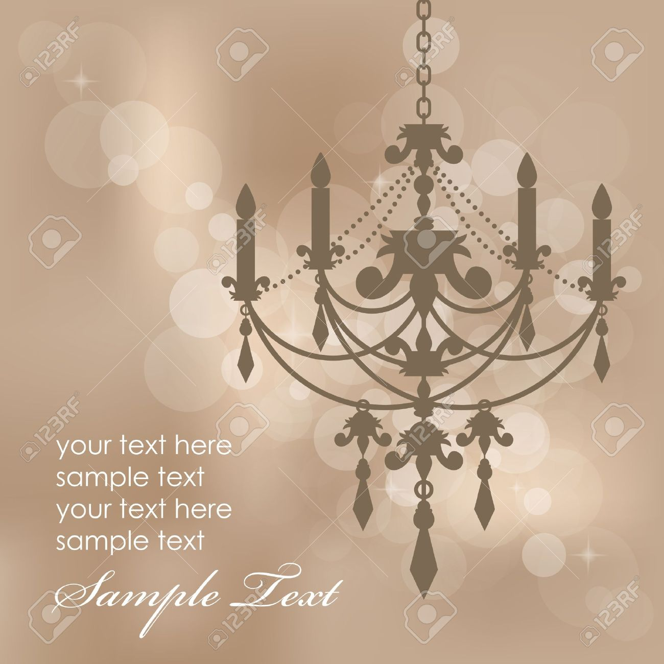 Vector brown background with chandelier - 18775507