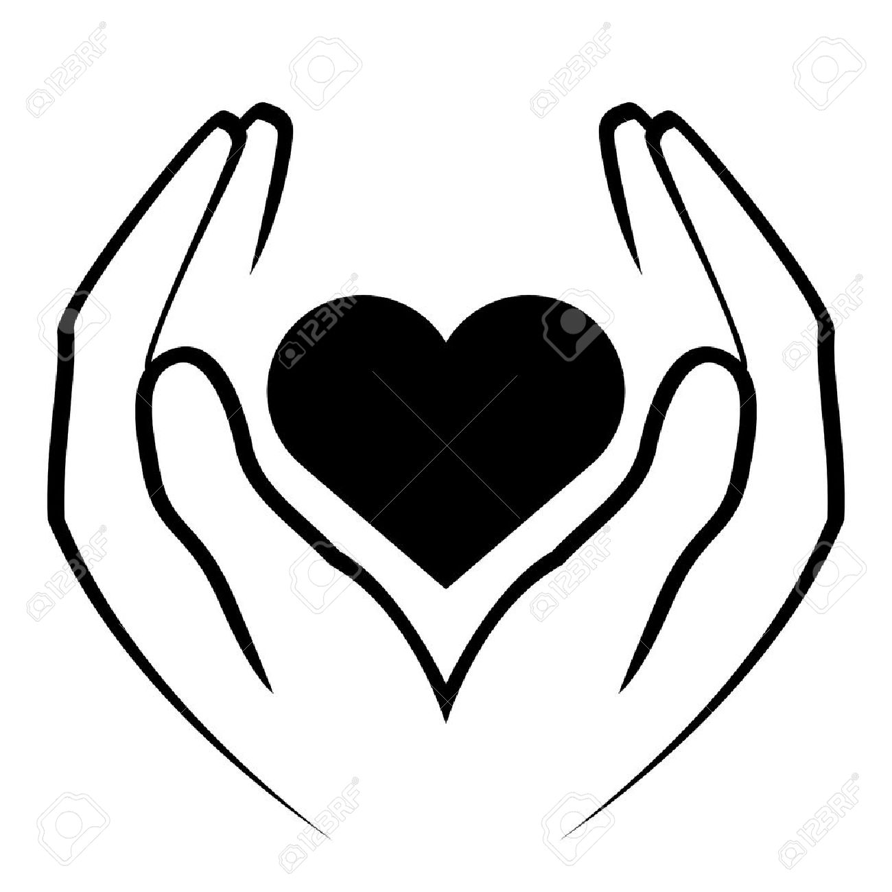 Heart Vector Icon Hands