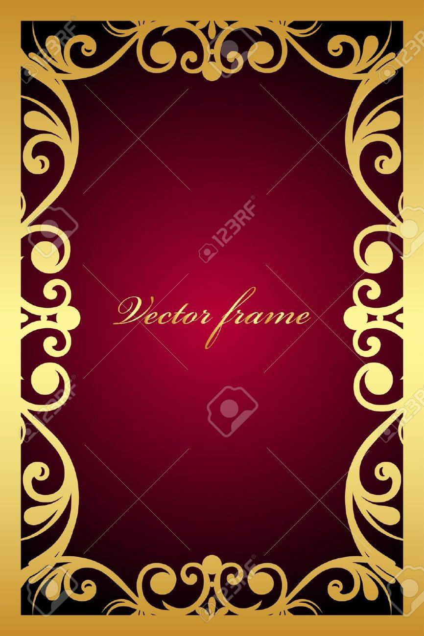 vintage maroon frame with gold ornament Stock Vector - 19749659