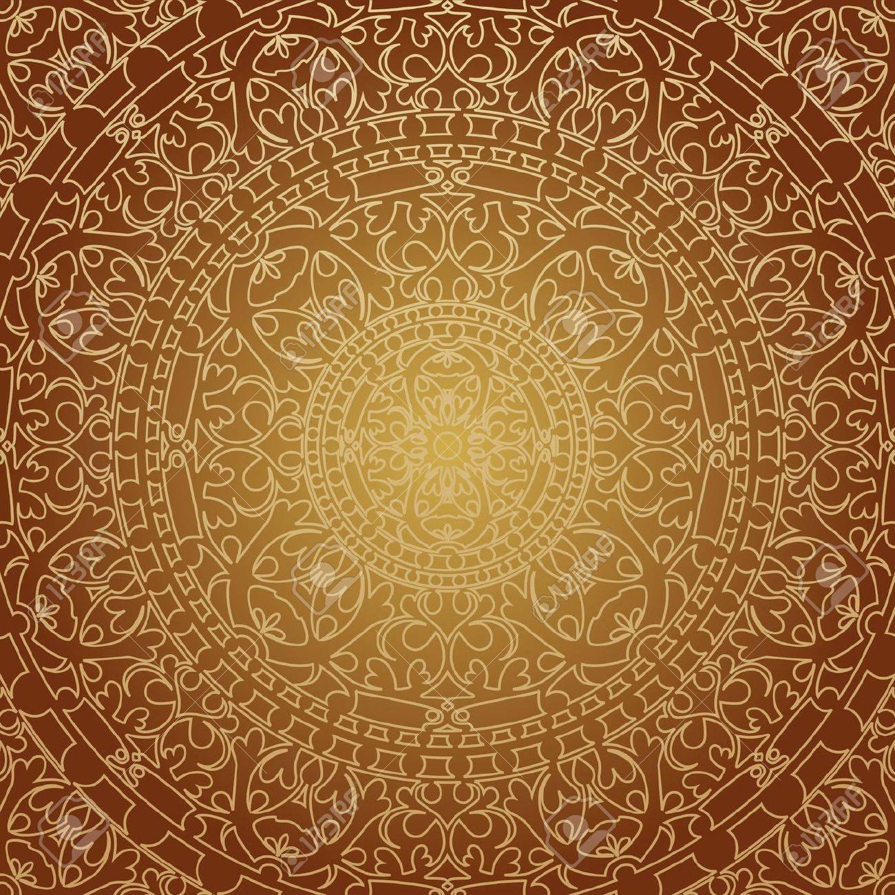 illustration of oriental brown decoration - 19749768