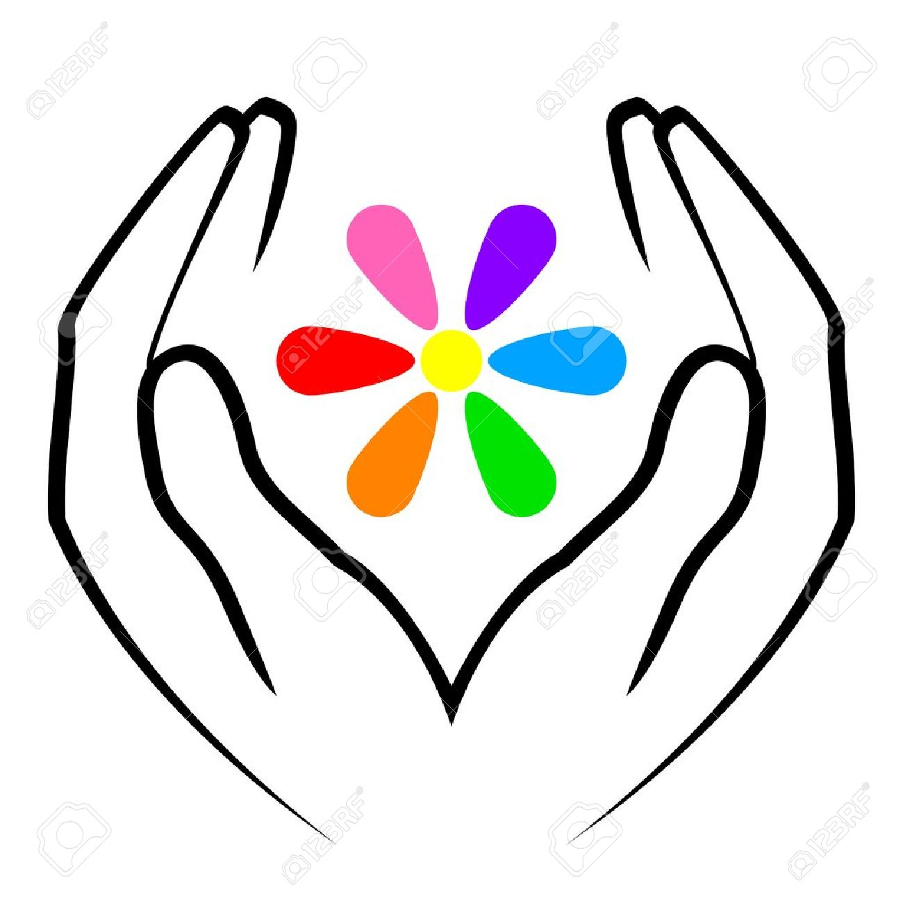 illustration of hands and flower royalty free cliparts vectors
