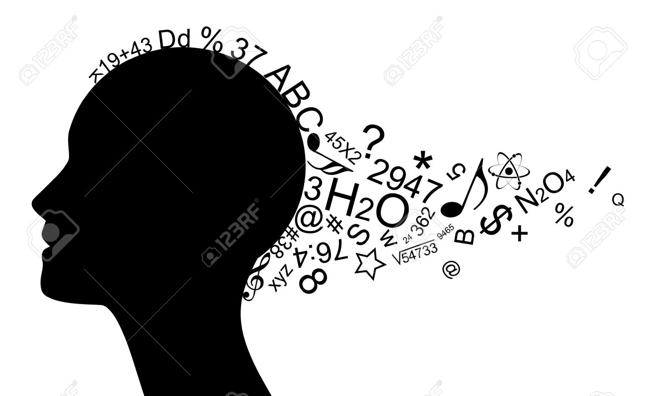 illustration of head with a lot of information Stock Vector - 20008436