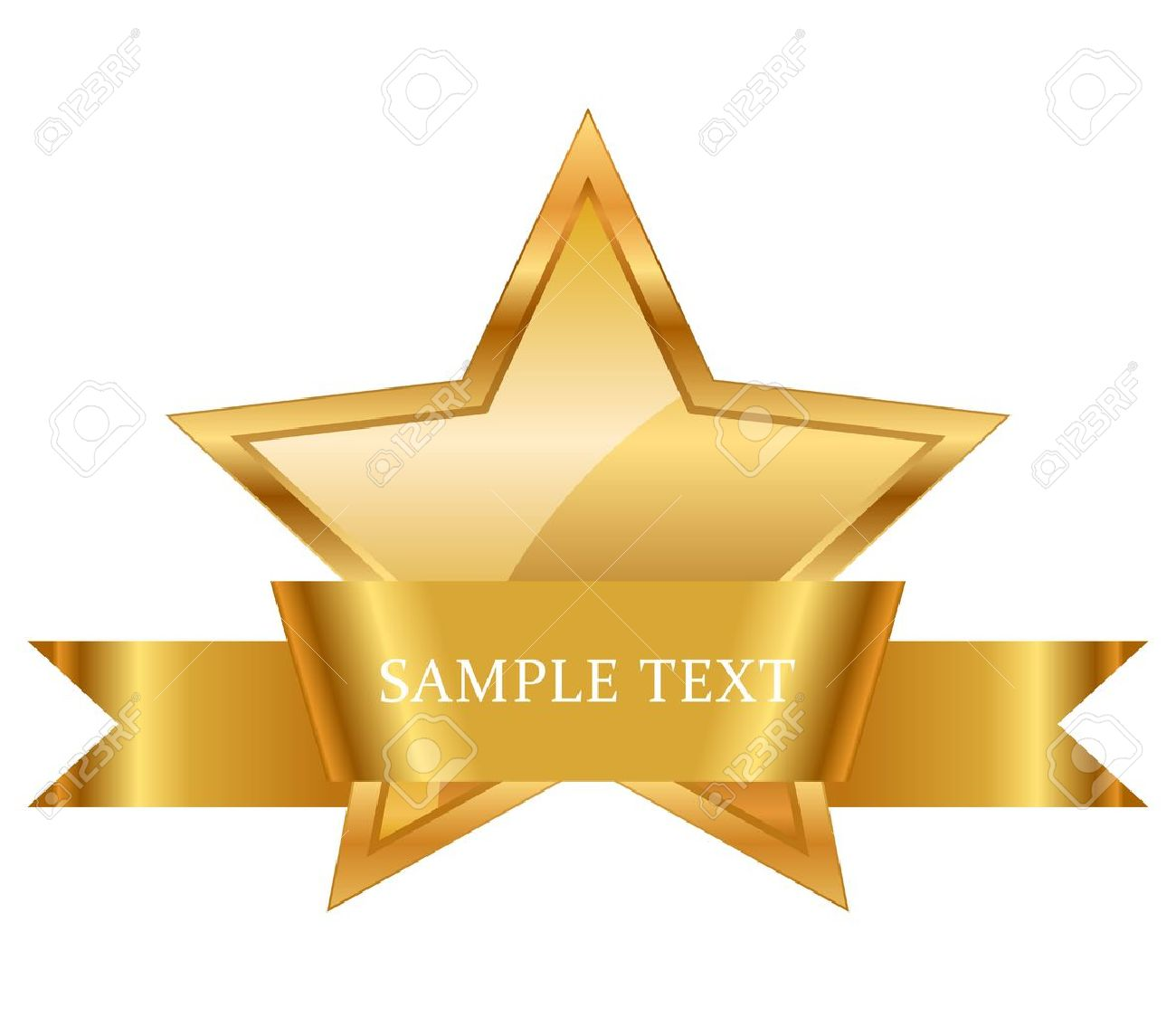 illustration of gold star award with shiny ribbon with space for your text - 20008431