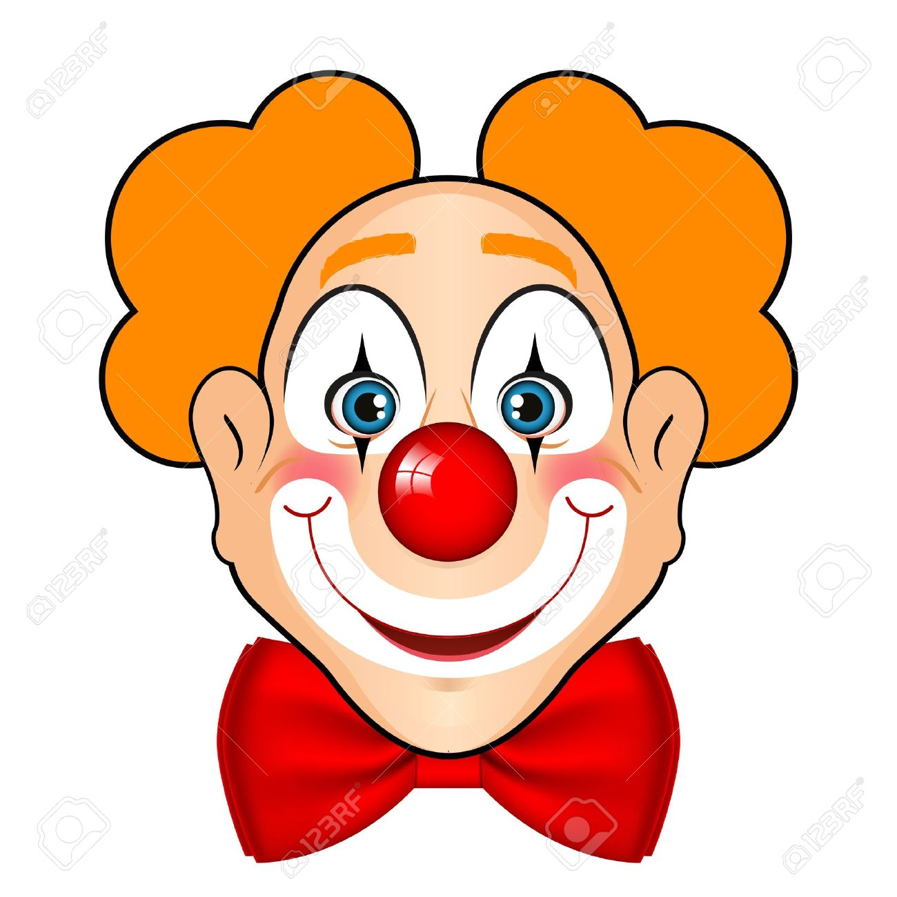 illustration of smiling clown with red bow Stock Vector - 20008444