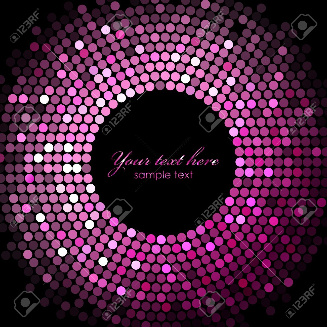 Pink Disco Lights On Black Background Stock Vector