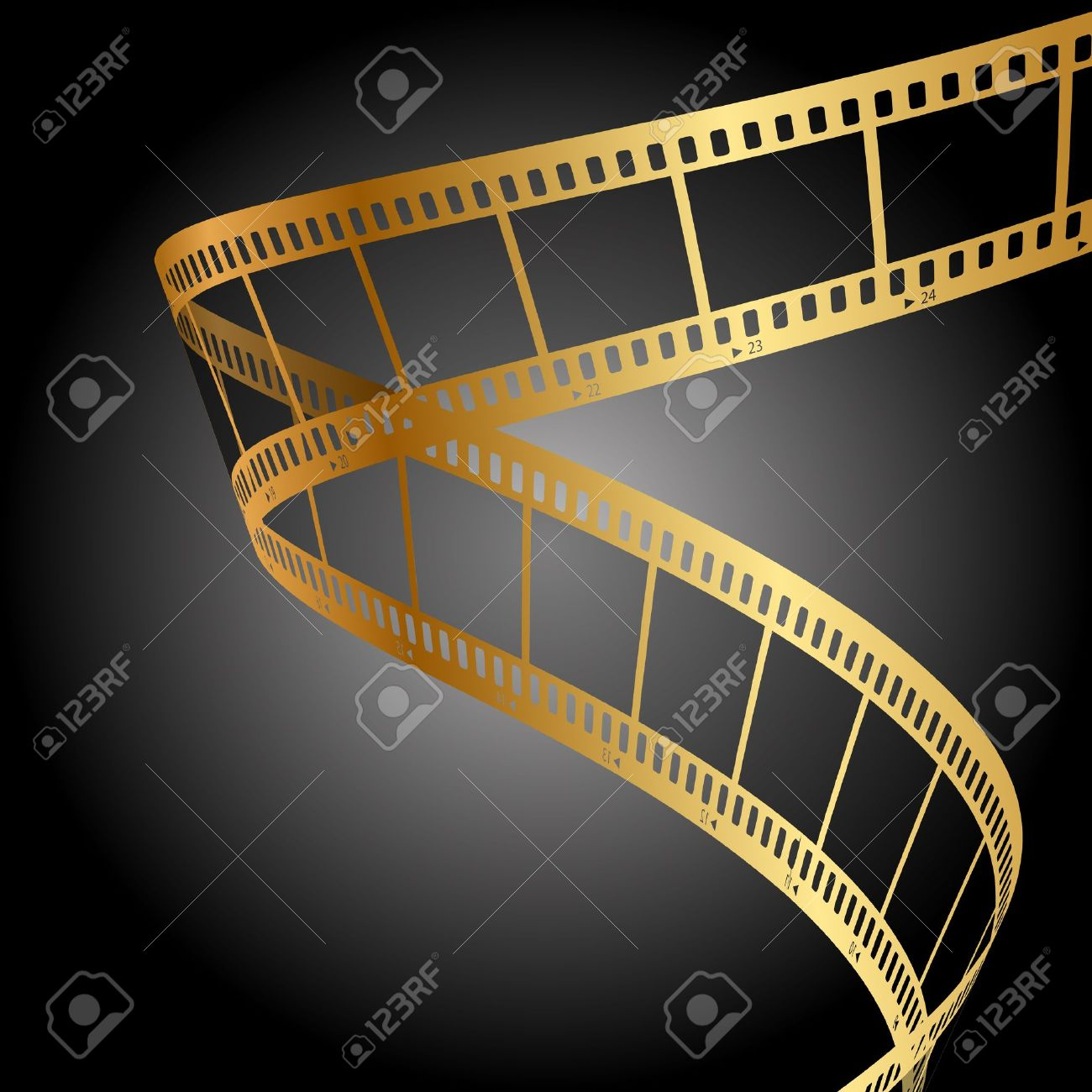 background with gold film strip Stock Vector - 20937587