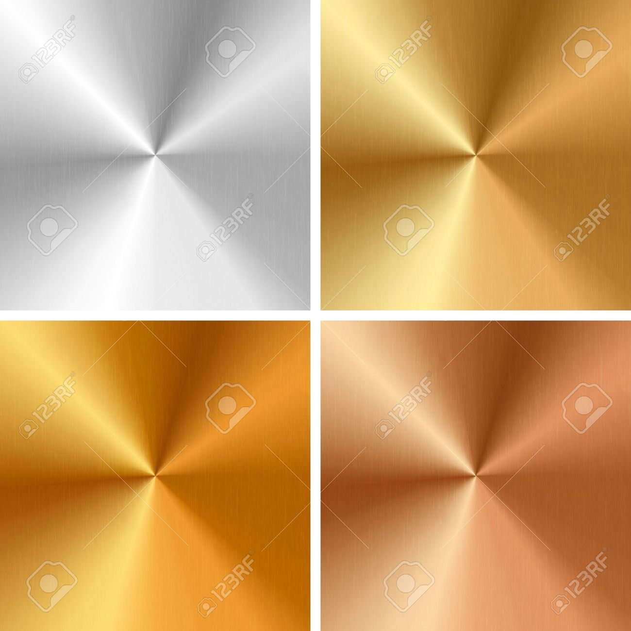 Vector metal textures - silver, gold, antique gold, bronze Stock Vector - 21773771