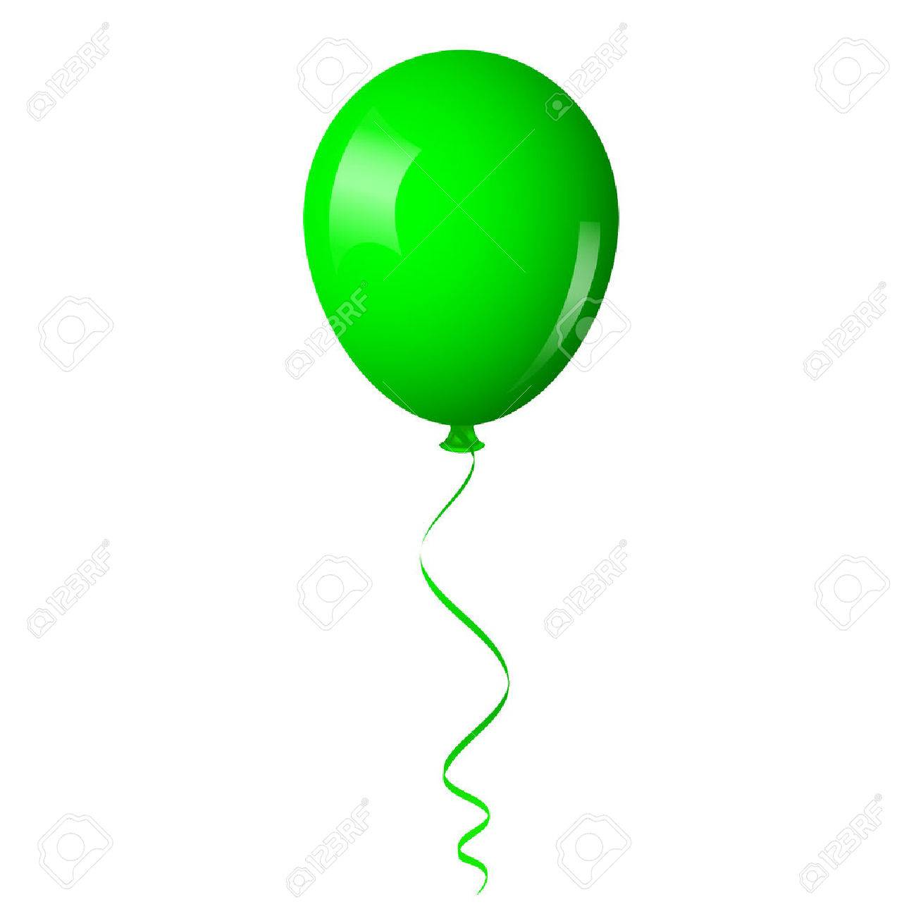 Vector Illustration Of Green Balloon With Ribbon Royalty Free ...