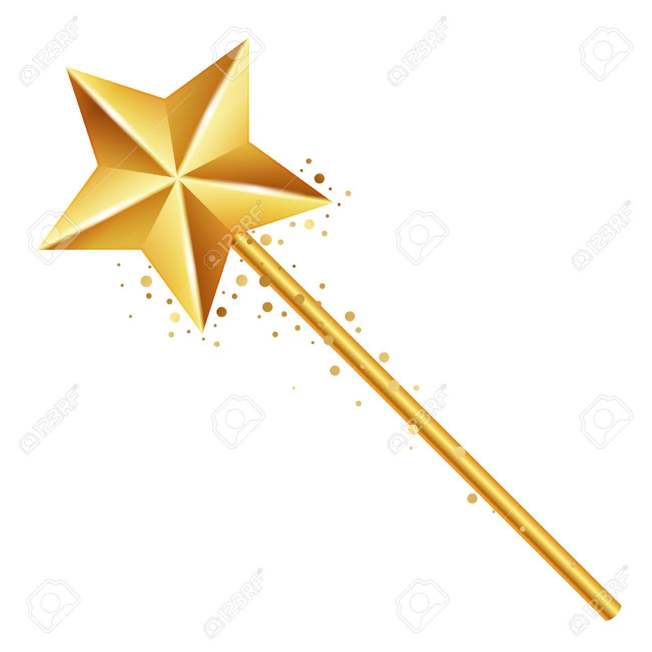 Vector illustration of golden magic wand - 22497124