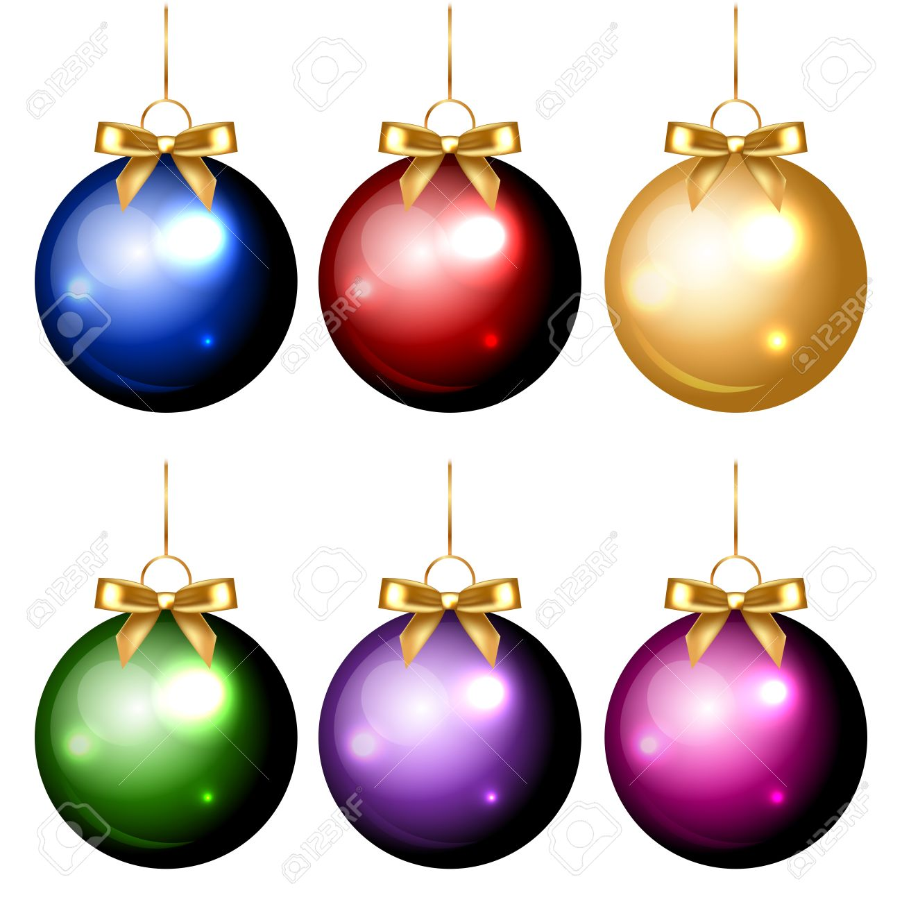 Vector set of shiny colorful christmas decorations Stock Vector - 23564022