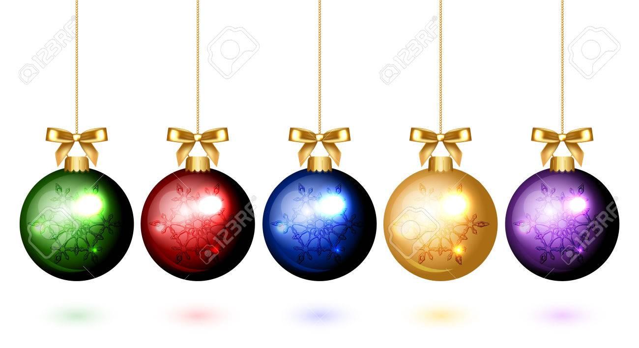 Colorful Christmas Balls.Vector Colorful Christmas Balls With Snowflake Ornament