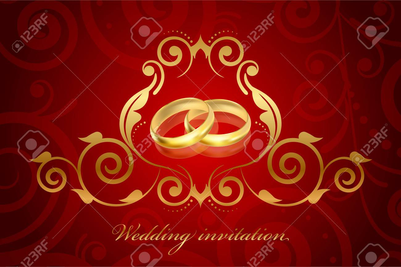 Vector Red And Gold Wedding Invitation Royalty Free Cliparts ...