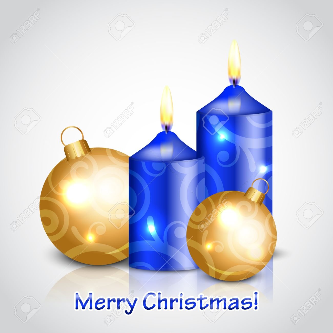 Blue And Gold Christmas Decorations - Vector merry christmas background with candles and gold decorations stock vector 24027474