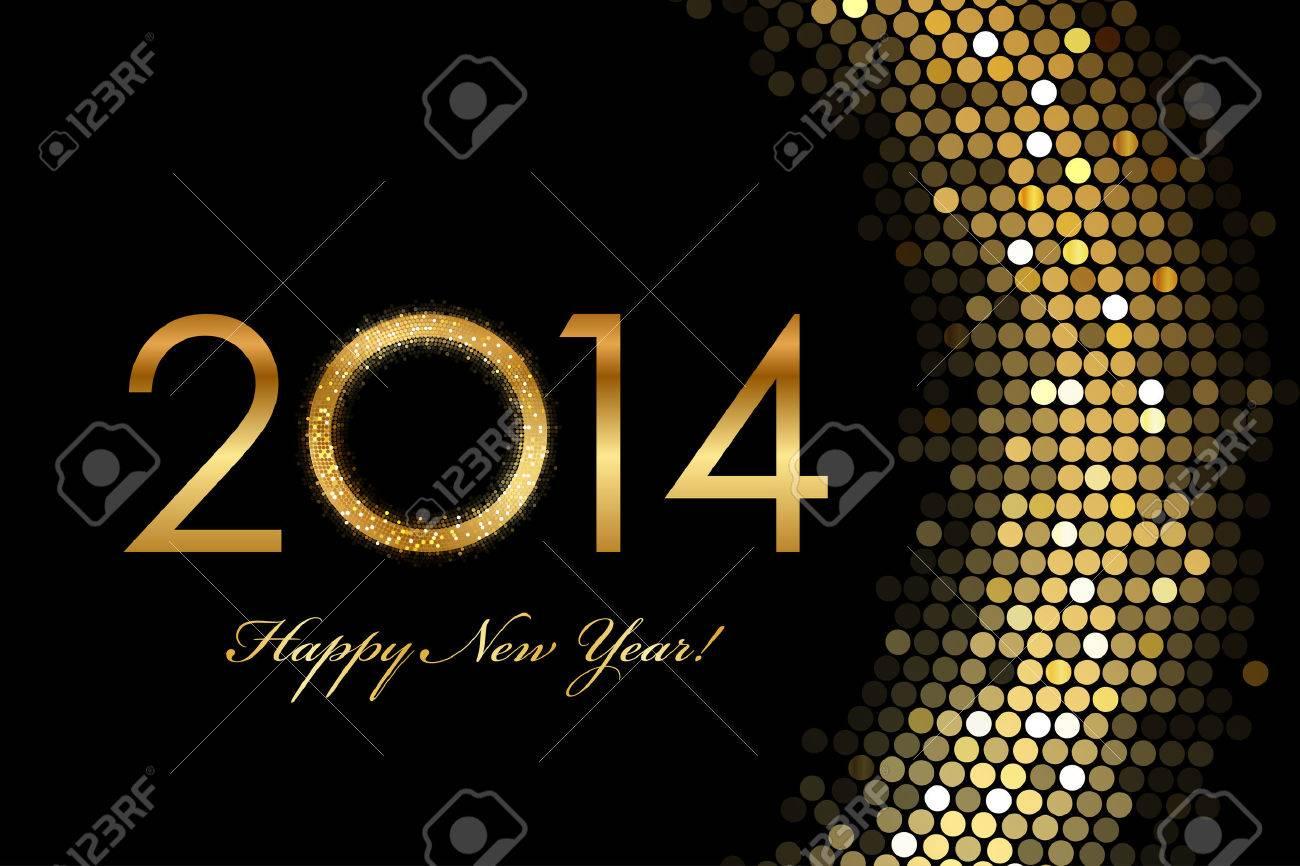 Vector - 2014 Happy New Year 2014 golden glowing Stock Vector - 24149127