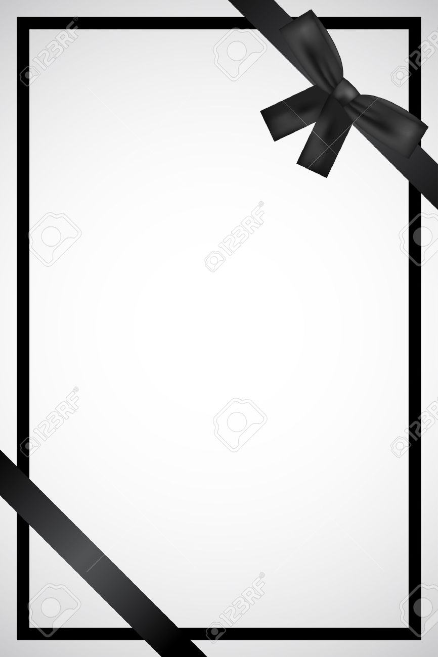 obituary vector frame with black ribbon illustration