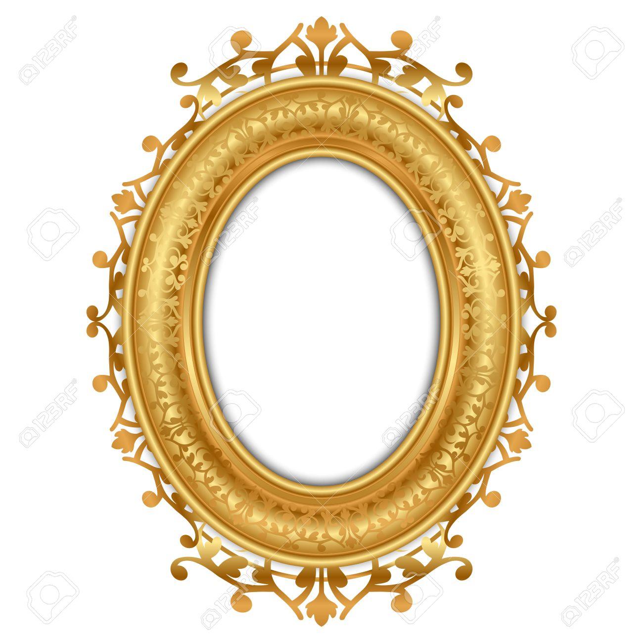 gold metal picture frames vector illustration of gold vintage frame