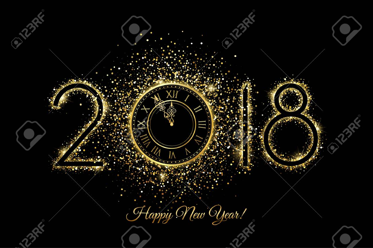 happy new year 2018 vector new year background with gold clock on black stock vector