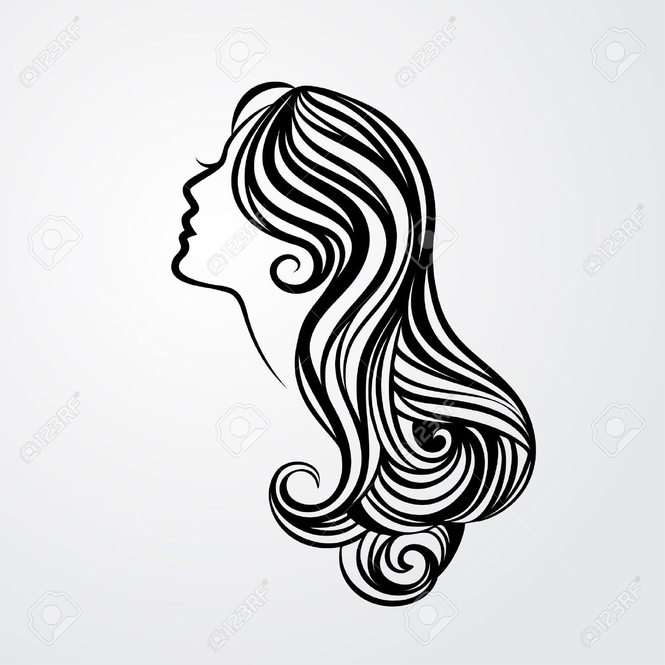 Hair salon chair isolated stock photos illustrations and vector art - Hair Care Lady With A Long Hair Portrait Isolated On White Background Vector Illustration