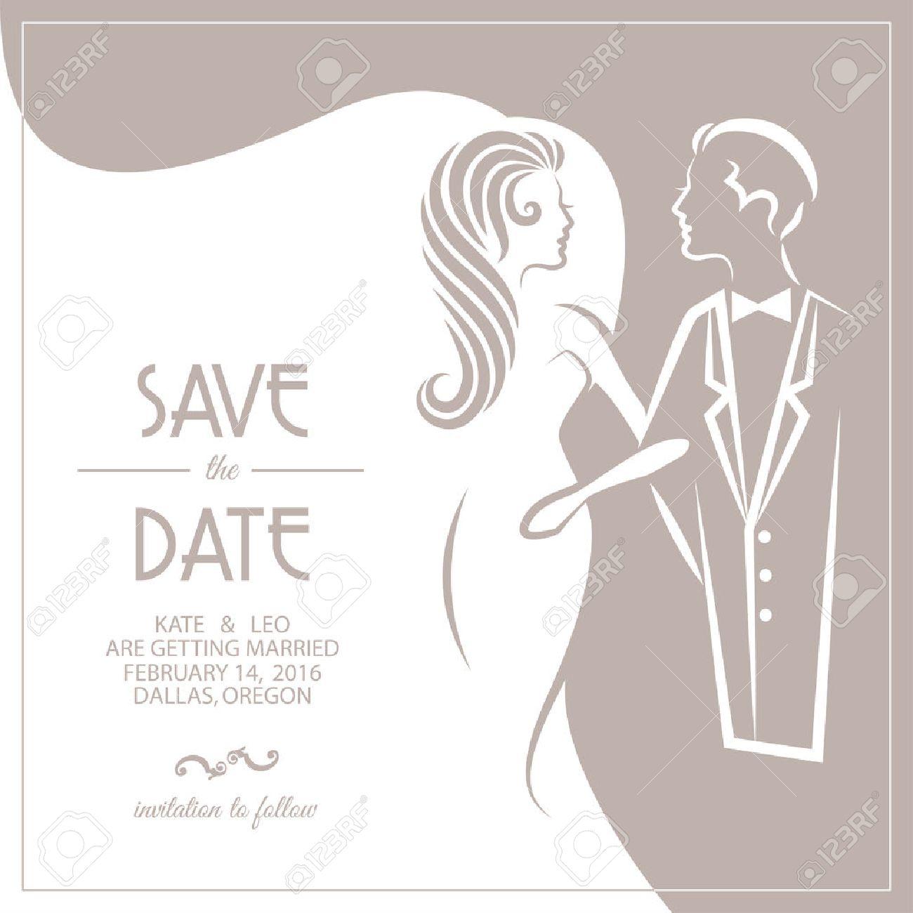 Hochzeitseinladungskarte Mit Braut Und Brautigam Vektor