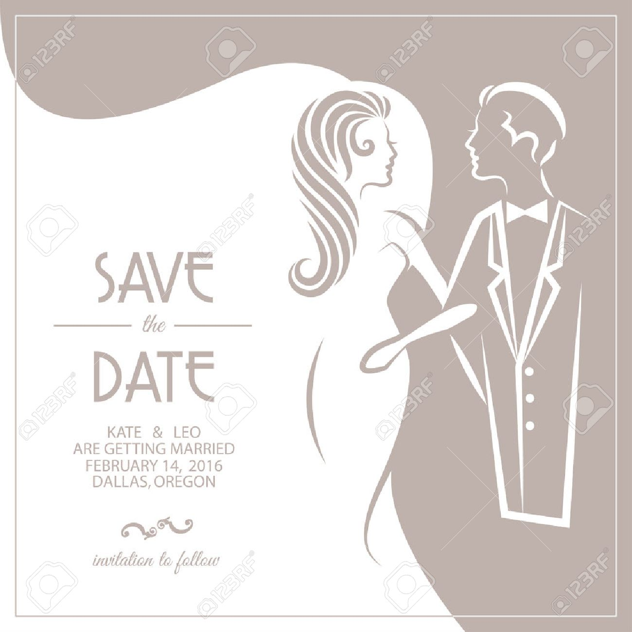 Wedding Invitation Card With Groom And Bride. Vector Illustration ...
