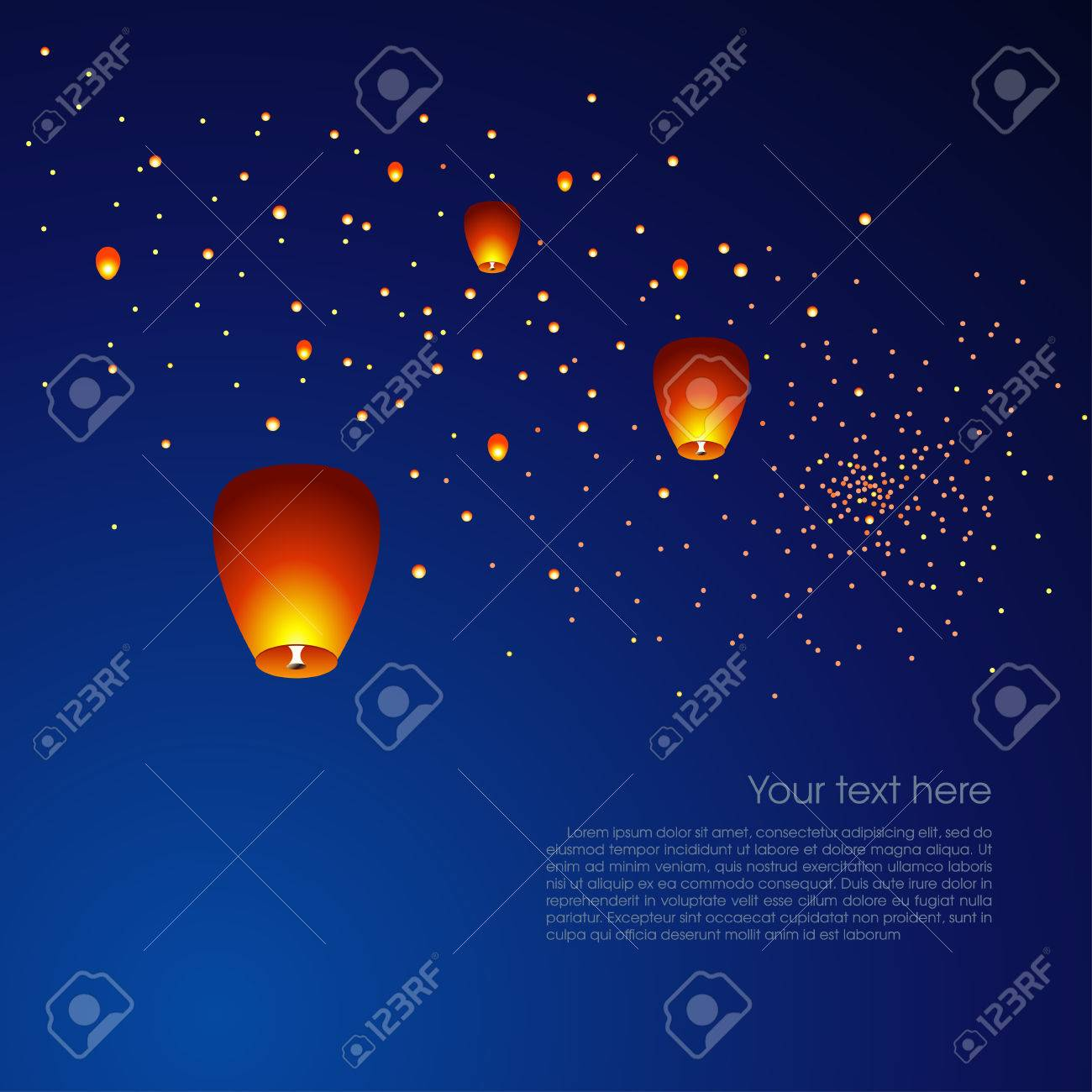 Chinese Sky Lanterns Floating In A Dark Night Sky Vector Illustration Royalty Free Cliparts Vectors And Stock Illustration Image 47194187