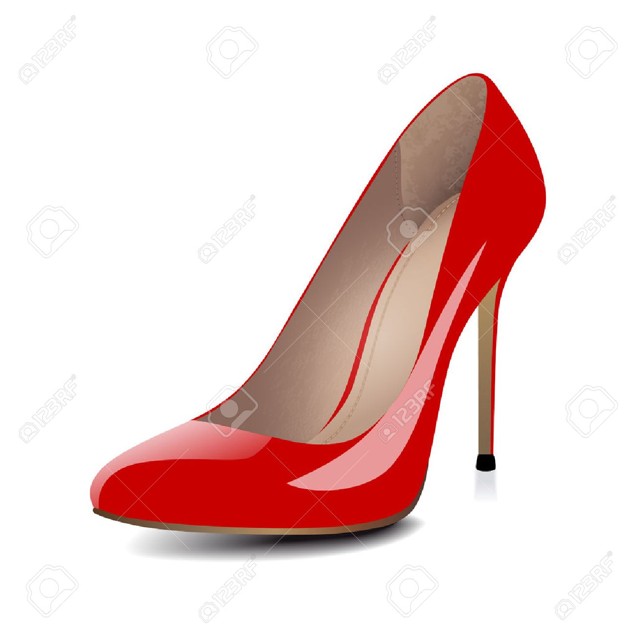 High Heels Red Shoes Isolated On White Background. Vector ...