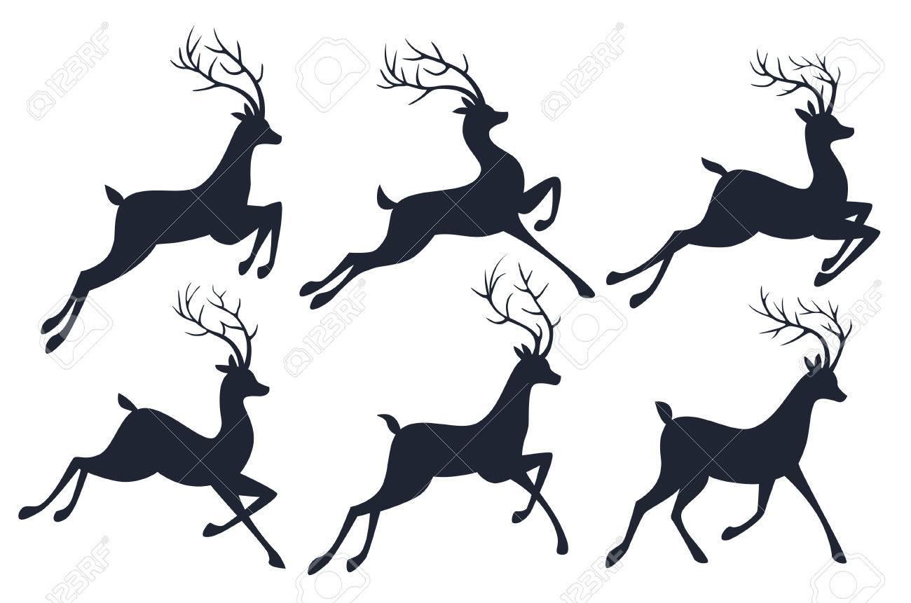 Weihnachten Rentier Silhouetten Auf Weißem Hintergrund. Lizenzfrei ...