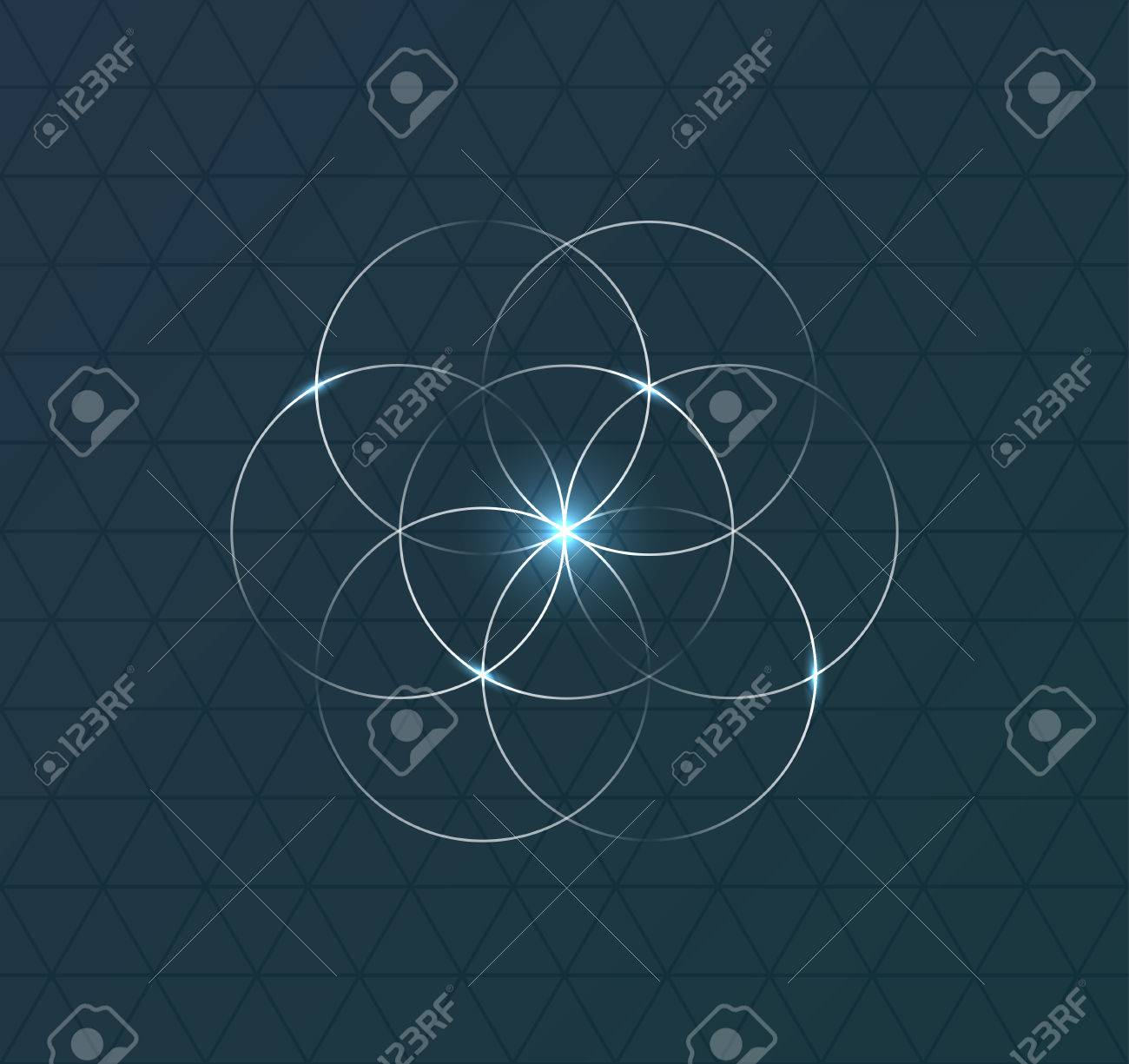 Abstract geometrical symbol on dark blue background. illustration Banque d'images - 52776039