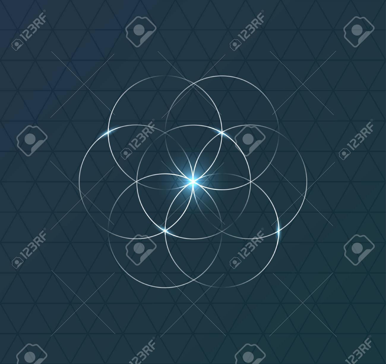 Résumé symbole géométrique sur fond bleu foncé. illustration Banque d'images - 52776039
