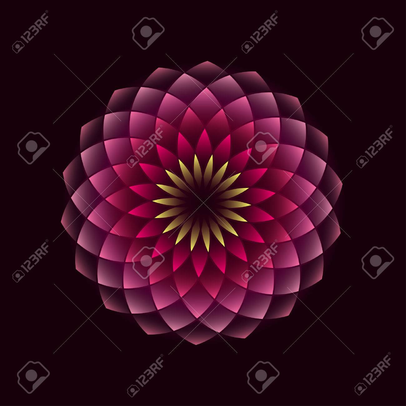 Pink flower geometrical sign isolated on black background. illustration Banque d'images - 53858933