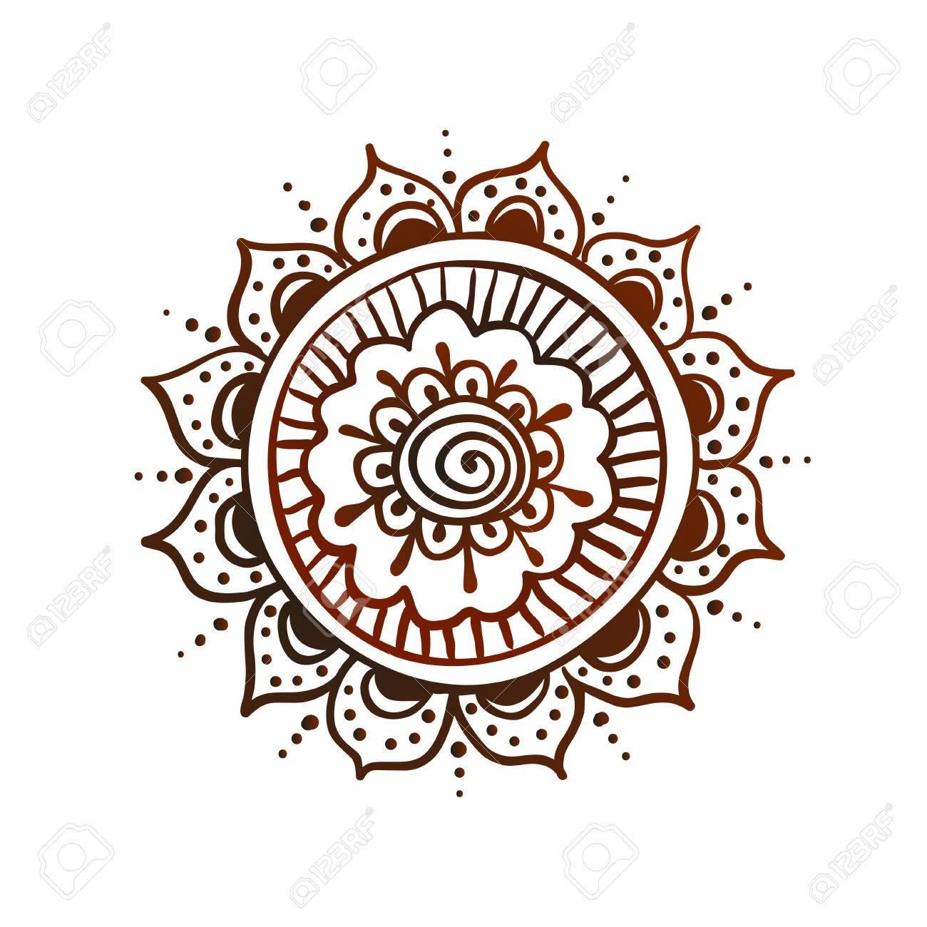 Hand Gezeichnet Mandala Verzierung Fur Henna Tattoo Vektor Symbol
