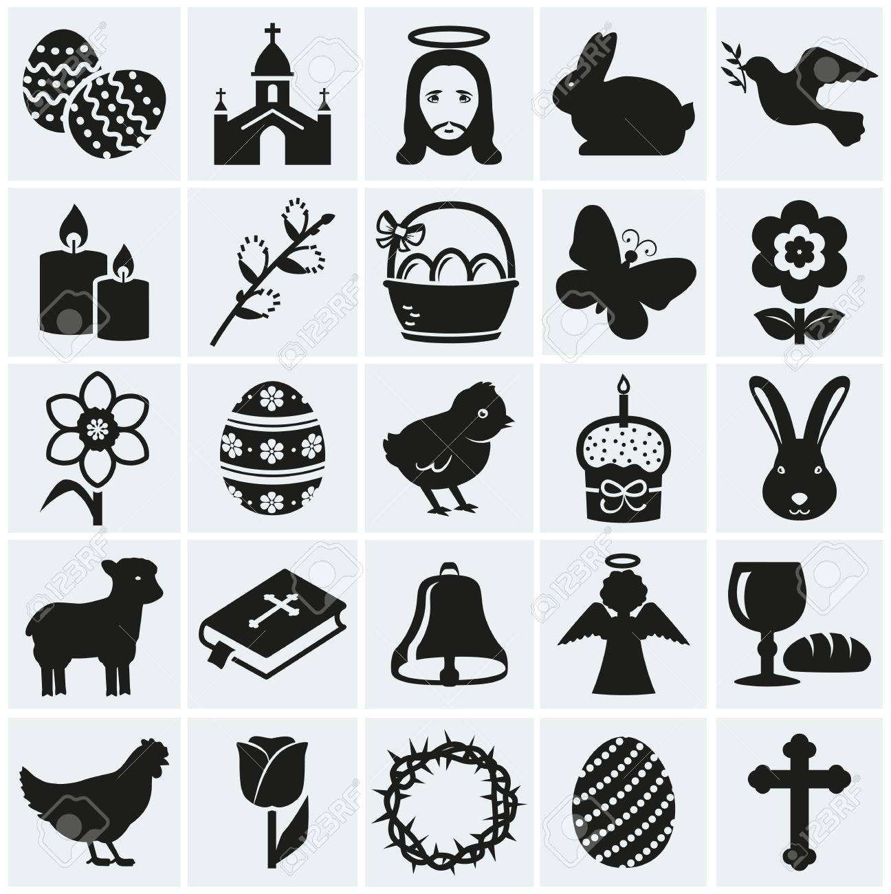 Happy Easter Set Of 25 Holidays Religious And Concept Symbols