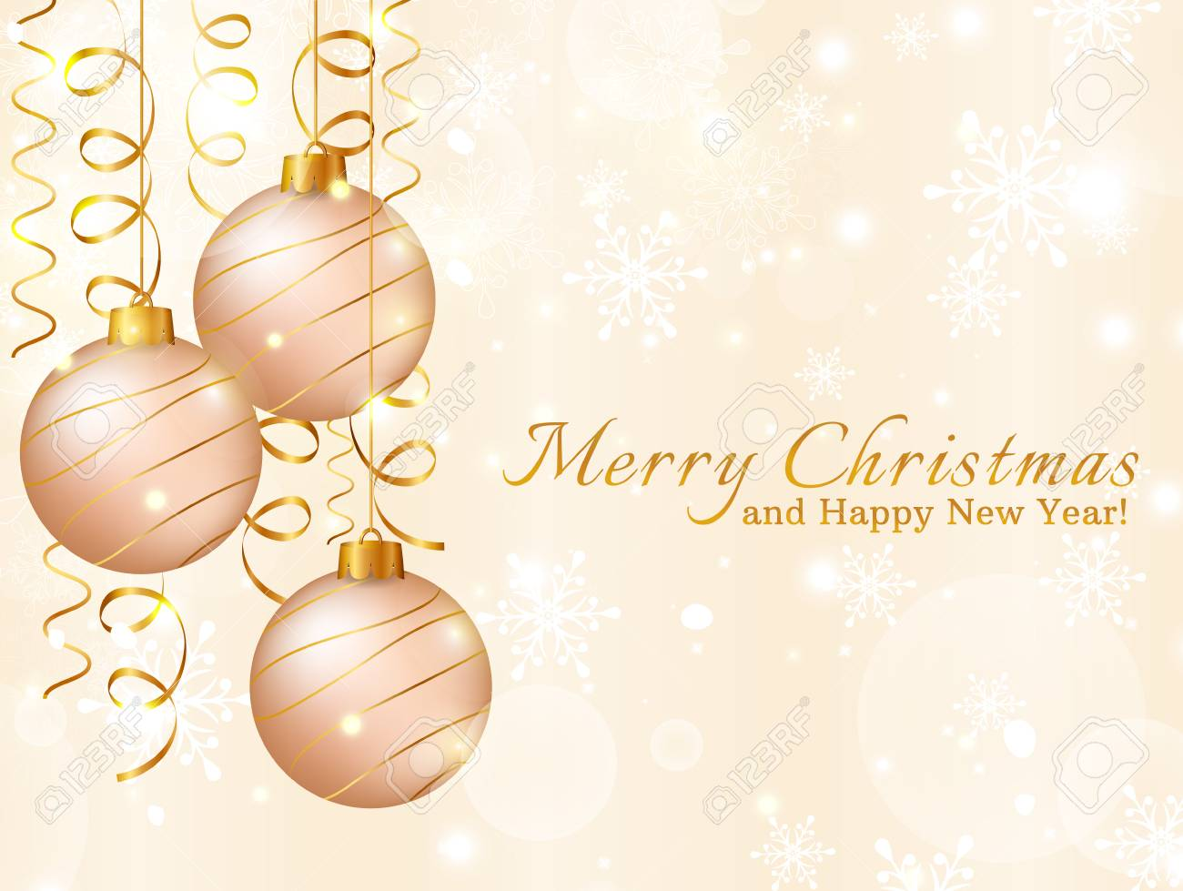 Merry Christmas And Happy New Year! Greeting Card With Christmas ...