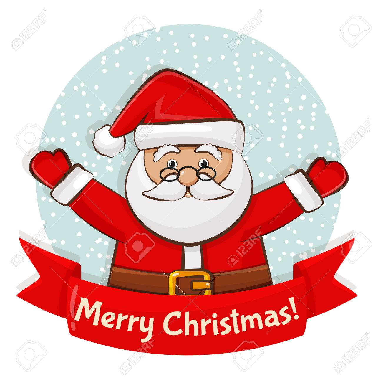 Merry Christmas Greeting Card With Santa Claus Vector Illustration