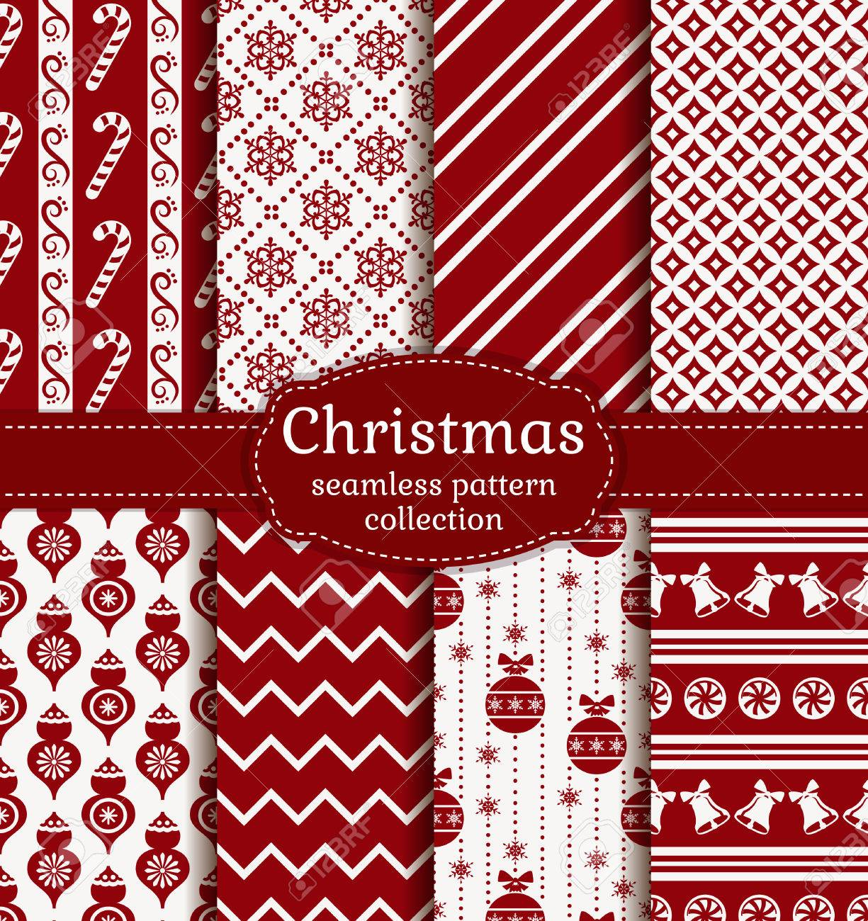 Merry Christmas and Happy New Year! Red and white seamless backgrounds with traditional winter holiday symbols - 48430626