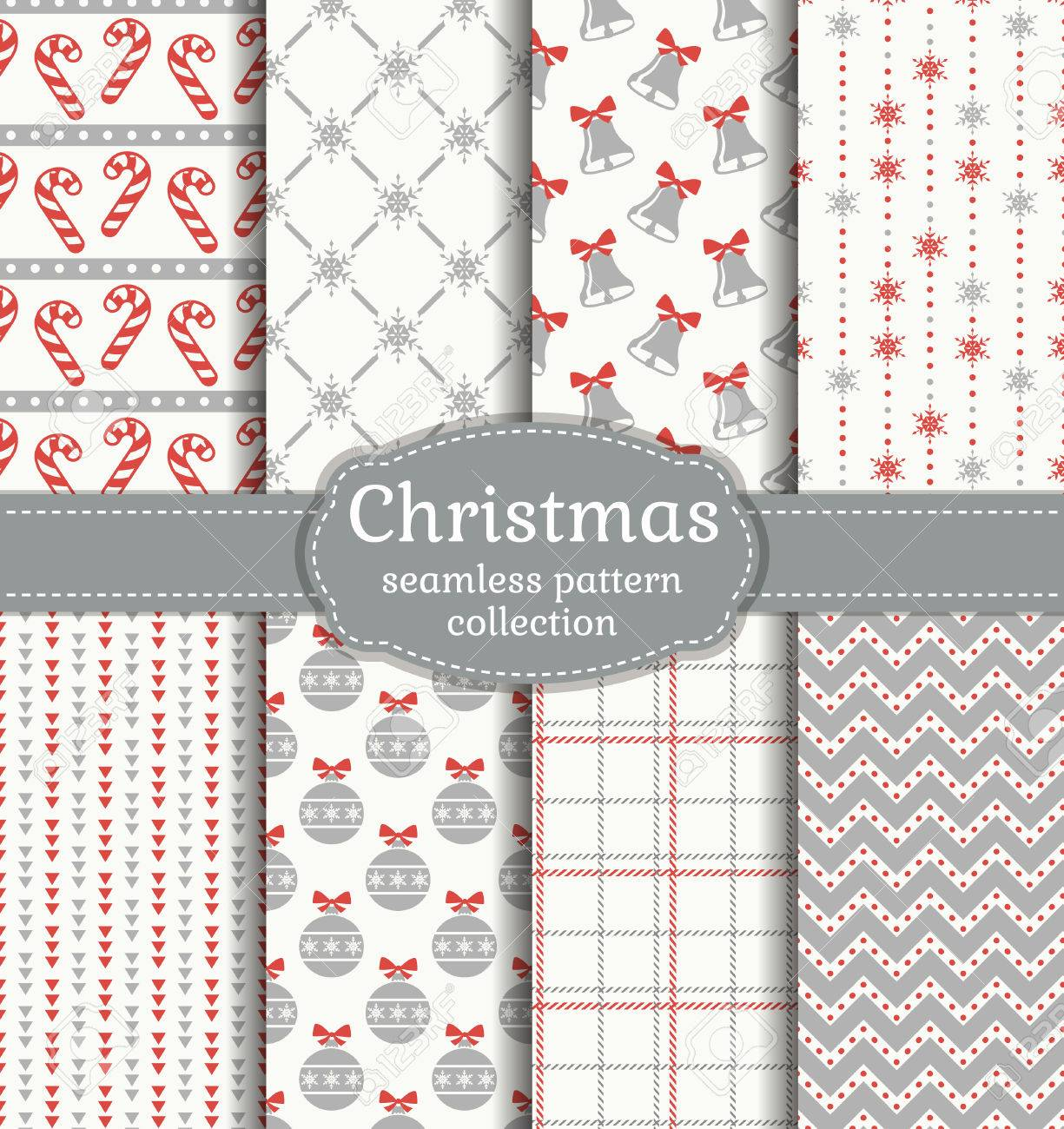 Merry Christmas and Happy New Year! Set of seamless backgrounds with traditional symbols - 48430627