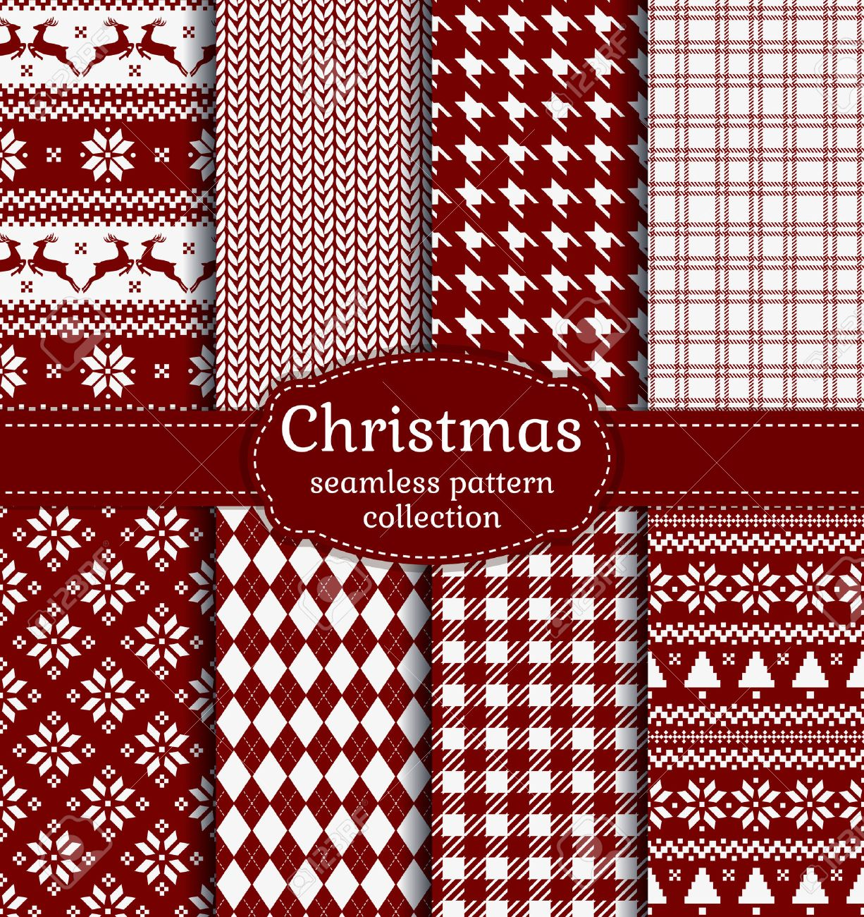 Merry Christmas and Happy New Year! Set of red and white seamless backgrounds for winter or holiday design. Warm textile patterns - 48430629